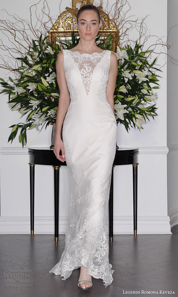 legends romona keveza fall 2016 wedding dress point d alencon lace sleeveless sheath gown deep v illusion neckline l6138