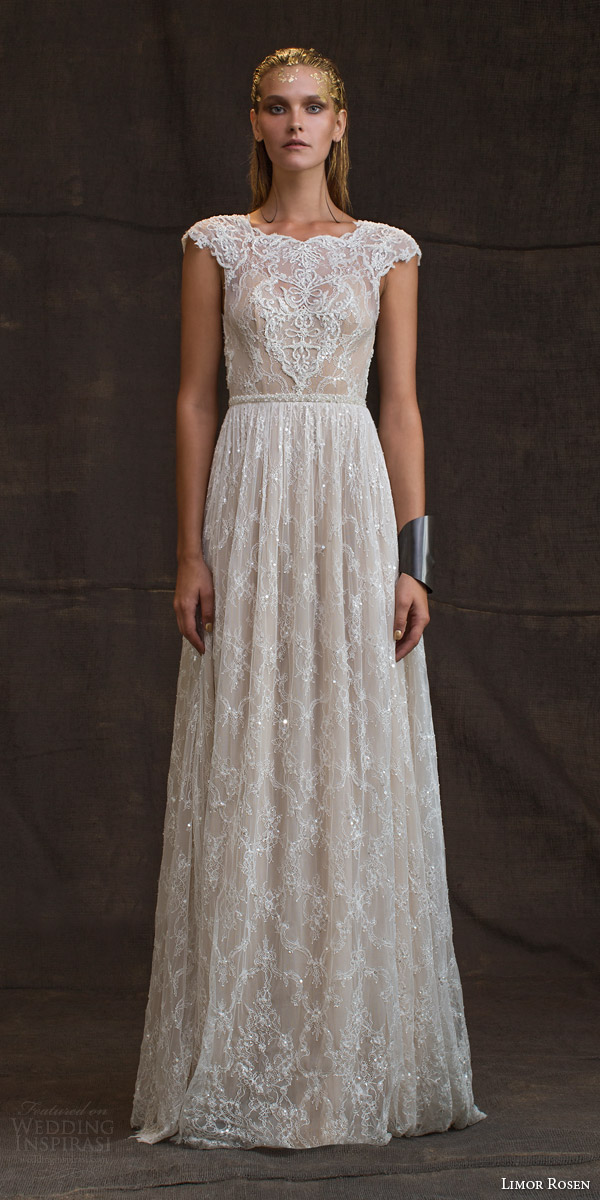 limor rosen bridal 2016 treasure anastasia wedding dress cap sleeves beaded lace blush tulle skirt beaded belt