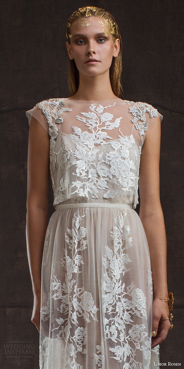 limor rosen bridal 2016 treasure aurora lace applique wedding dress two piece illusion cap sleeve crop top close up