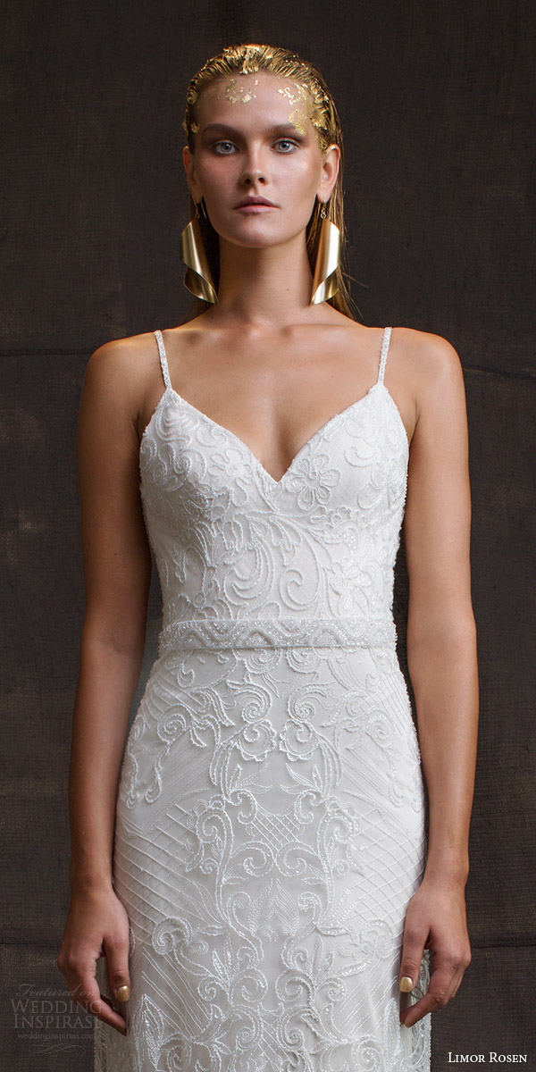 limor rosen bridal 2016 treasure camille sleeveless sheath wedding dress beaded straps zoom bodice
