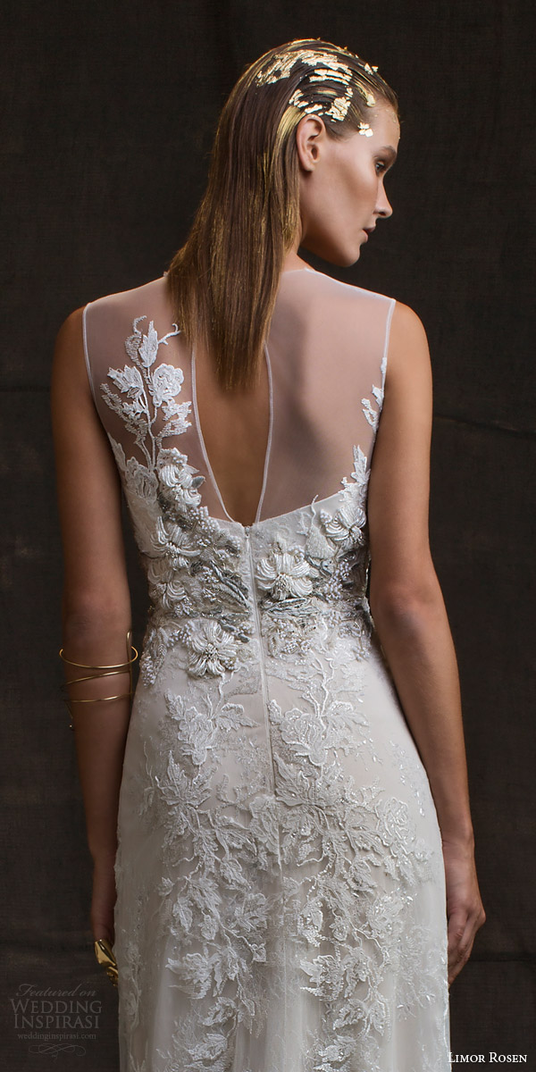 limor rosen bridal 2016 treasure charlotte sleeveless wedding dress illusion neckline beaded applique keyhole back close up