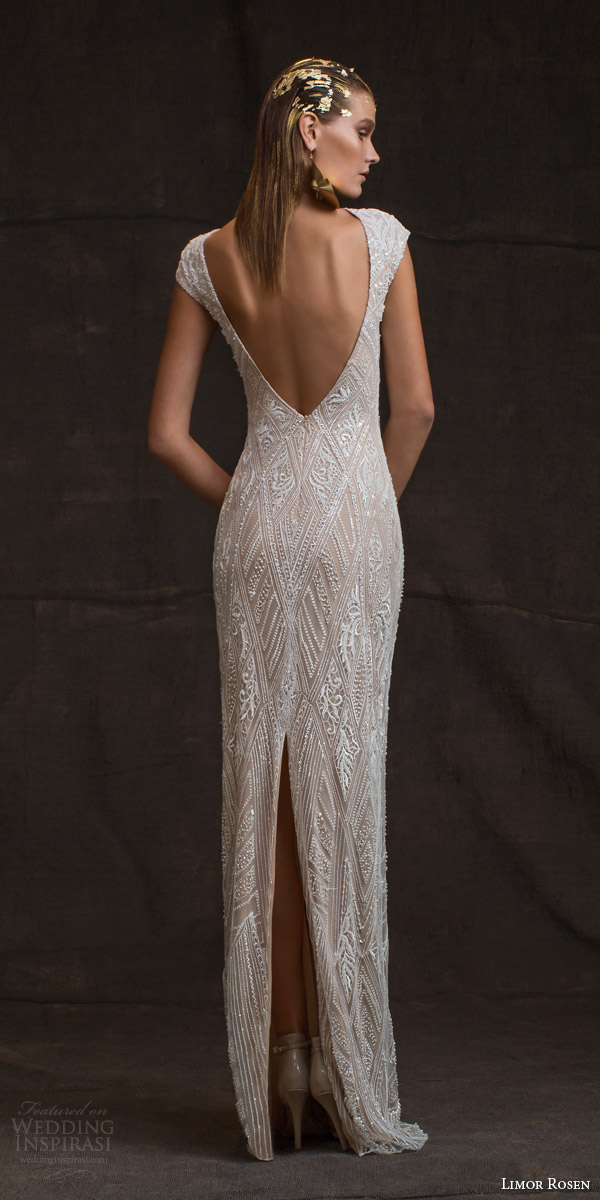limor rosen bridal 2016 treasure daria cap sleeve sheath wedding dress beaded bodice open back