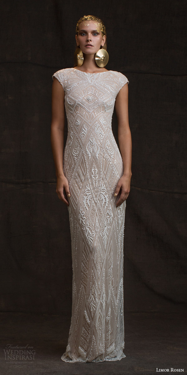 limor rosen bridal 2016 treasure daria cap sleeve sheath wedding dress