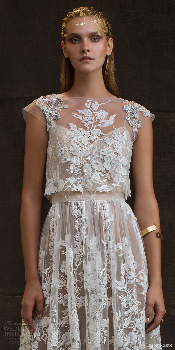limor rosen bridal 2016 treasure grace wedding dress lace floral cap sleeve crop top blush tulle knee length skirt bodice close up embellished shoulders