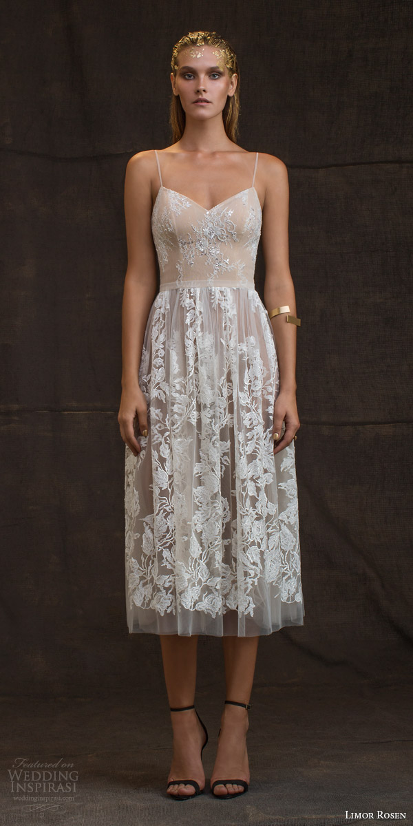 limor rosen bridal 2016 treasure grace wedding dress sleeveless spaghetti straps lace floral blush tulle knee length skirt