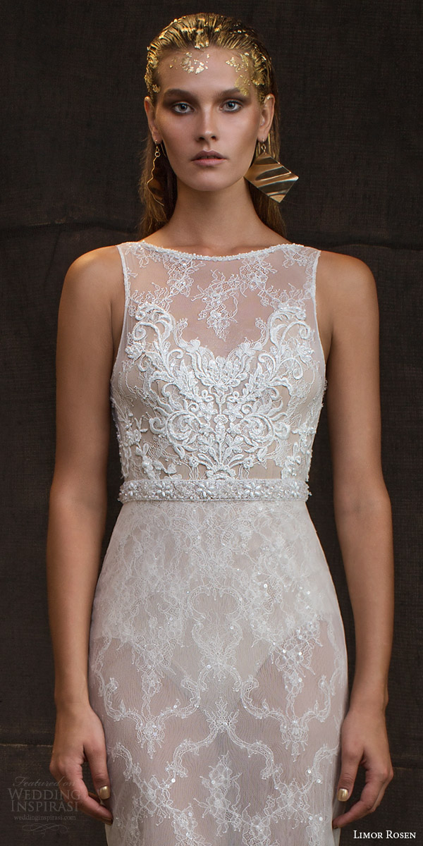 limor rosen bridal 2016 treasure reina sleeveless wedding dress high illusion neckline embellished bodice belt bodice close up