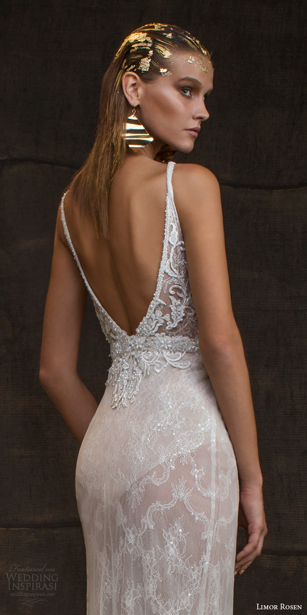 limor rosen bridal 2016 treasure reina sleeveless wedding dress high illusion neckline embellished bodice belt low back view close up