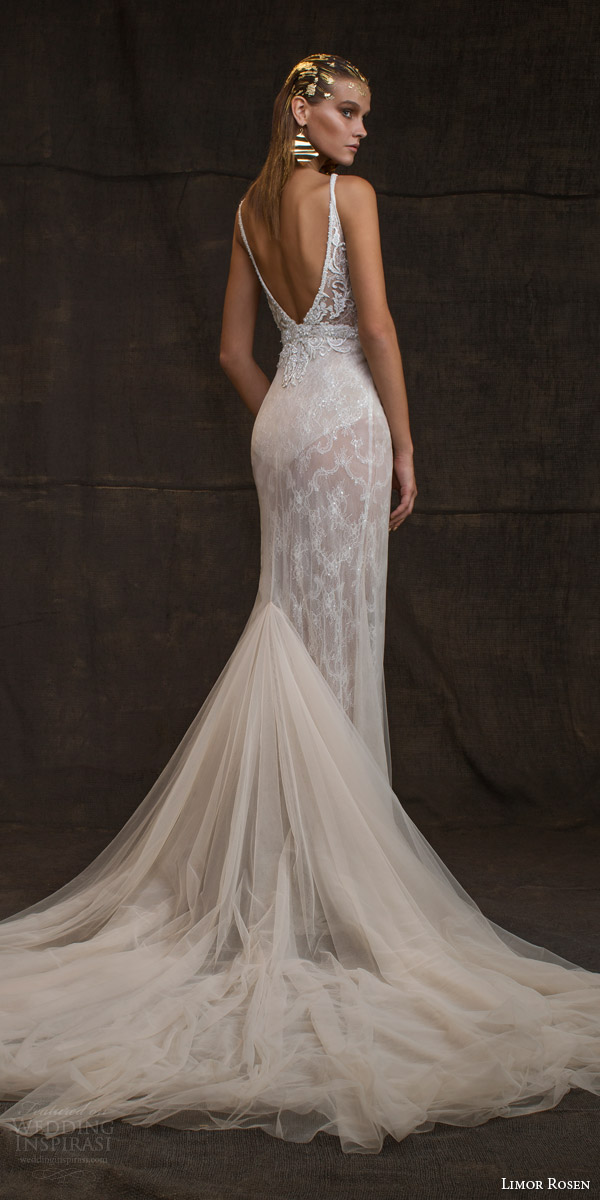 limor rosen bridal 2016 treasure reina sleeveless wedding dress high illusion neckline embellished bodice belt low back view