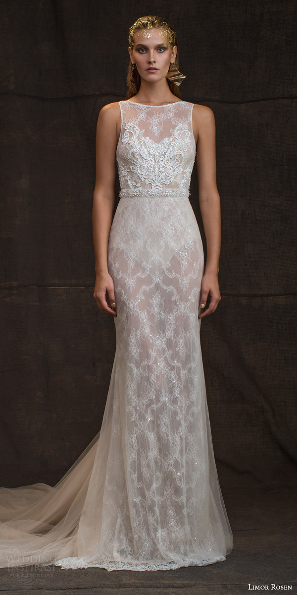 limor rosen bridal 2016 treasure reina sleeveless wedding dress high illusion neckline embellished bodice belt
