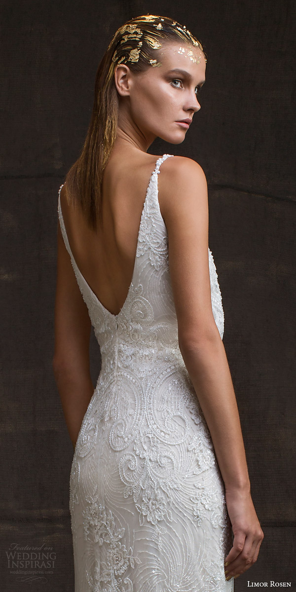 limor rosen bridal 2016 treasure sarina sleeveless lace wedding dress v neck straps blouson bodice low back view close up