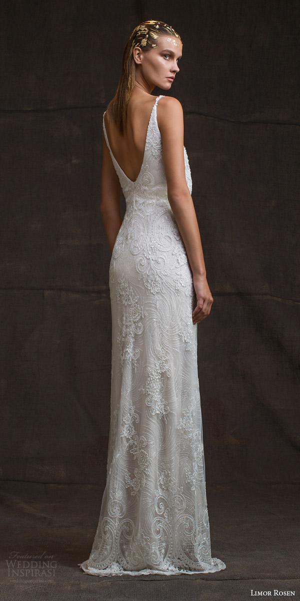 limor rosen bridal 2016 treasure sarina sleeveless lace wedding dress v neck straps blouson bodice low back view