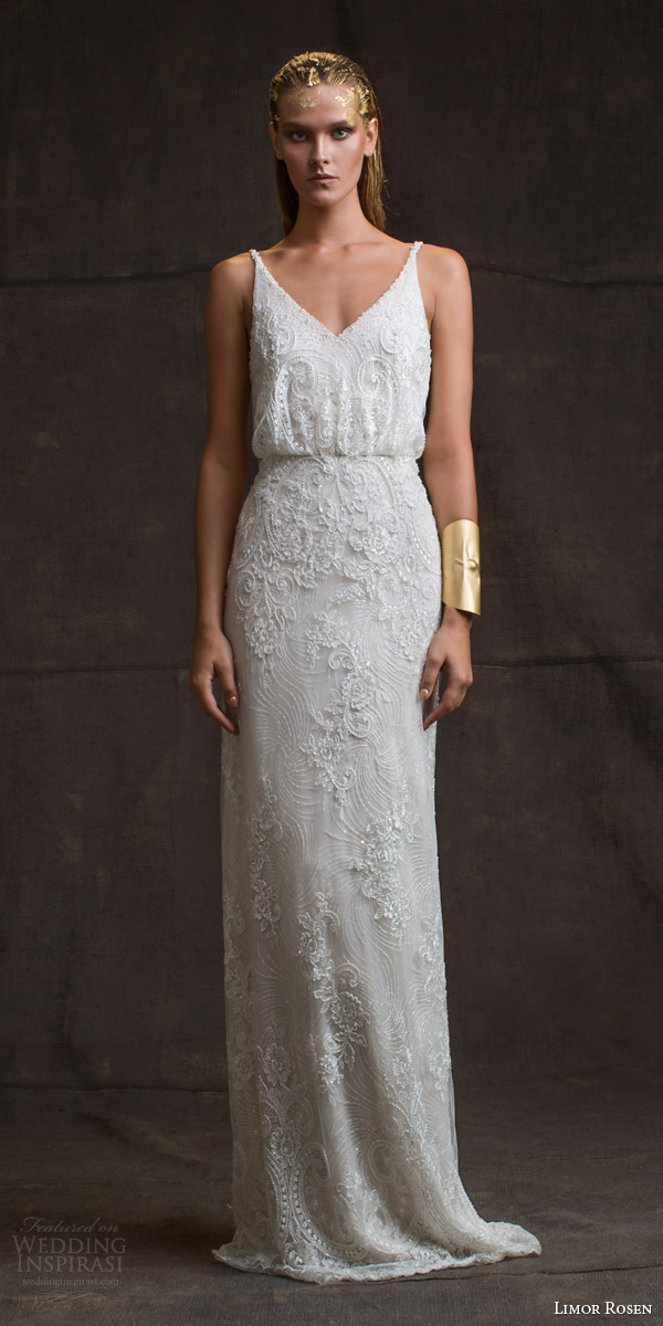 Gorgeous Sheath Column V Neck Long Sleeve Wedding Dresses : Wedding dresses treasure bridal collection