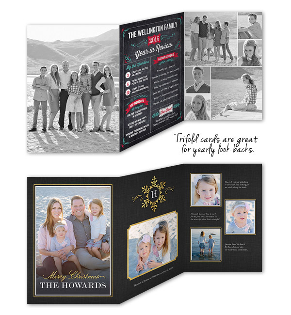 shutterfly christmas cards trifold holiday greeting card year in revview life update howweholiday - Tri Fold Christmas Cards