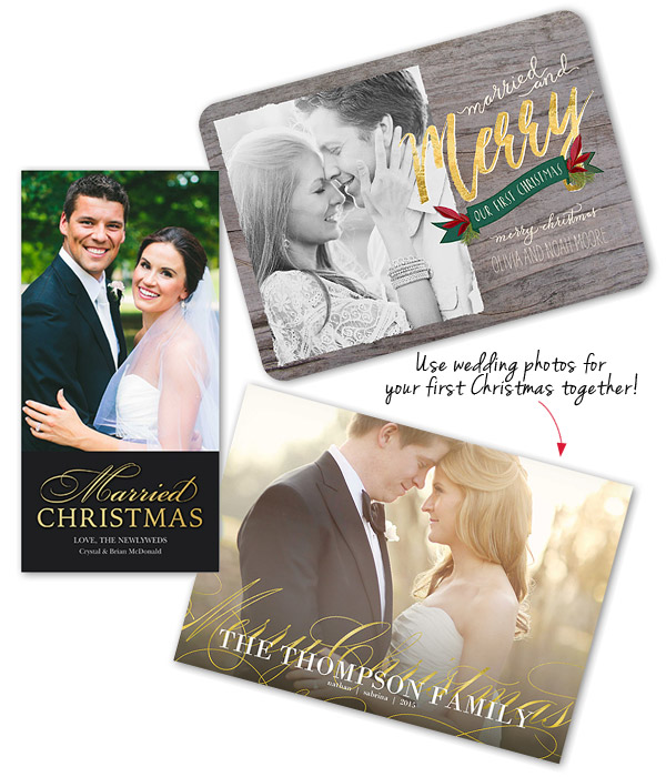 Shutterfly Holiday Christmas Card Re Use Wedding Photos First Xmas Greeting Howweholiday