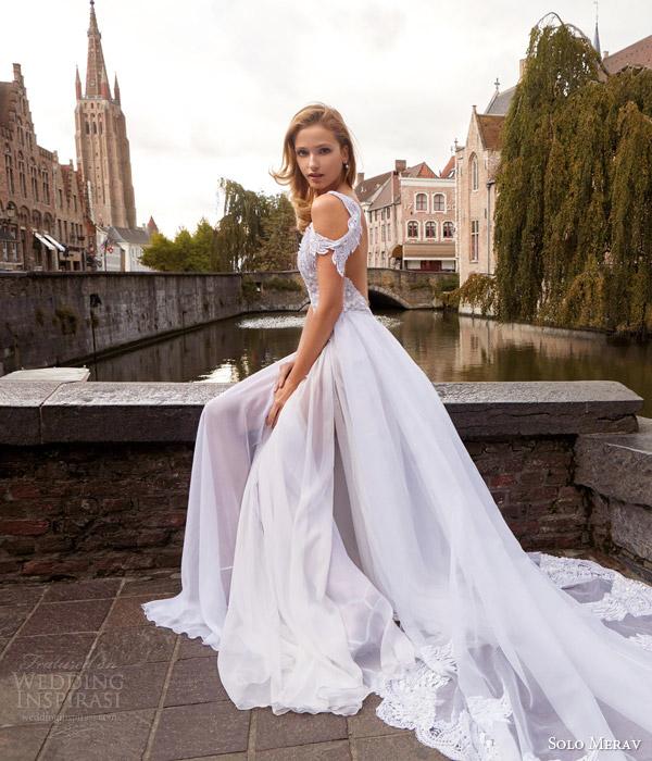 solo merav 2016 bridal beautiful handmade organza wedding dress beads appliques sequins bodice optional lace train estelle side view