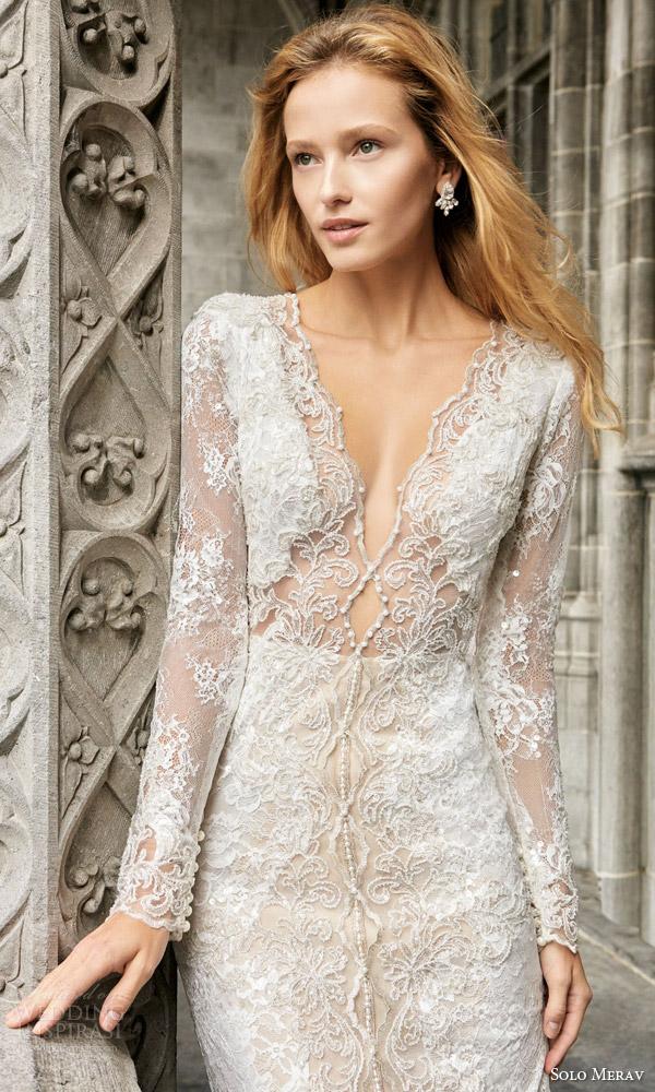 solo merav 2016 bridal long sleeve sheath wedding dress hand embellished appliques pearls point train front bodice naomi