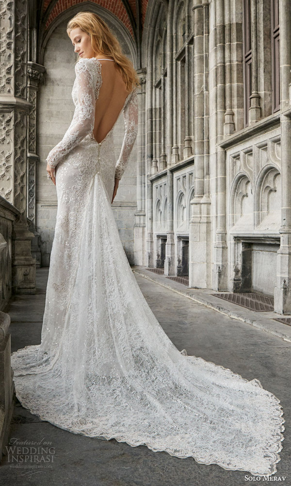 solo merav 2016 bridal long sleeve sheath wedding dress hand embellished appliques pearls point train open back naomi