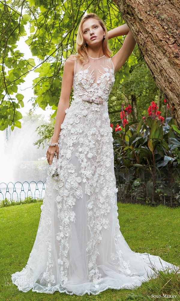 solo merav 2016 bridal sleeveless wedding dress 3d flowers appliques pearl gem purple bow waist illusion neckline kristin zoom