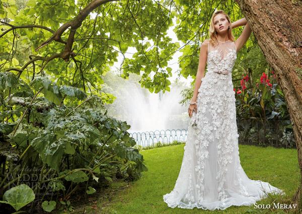 solo merav 2016 bridal sleeveless wedding dress 3d flowers appliques pearl gem purple bow waist illusion neckline kristin