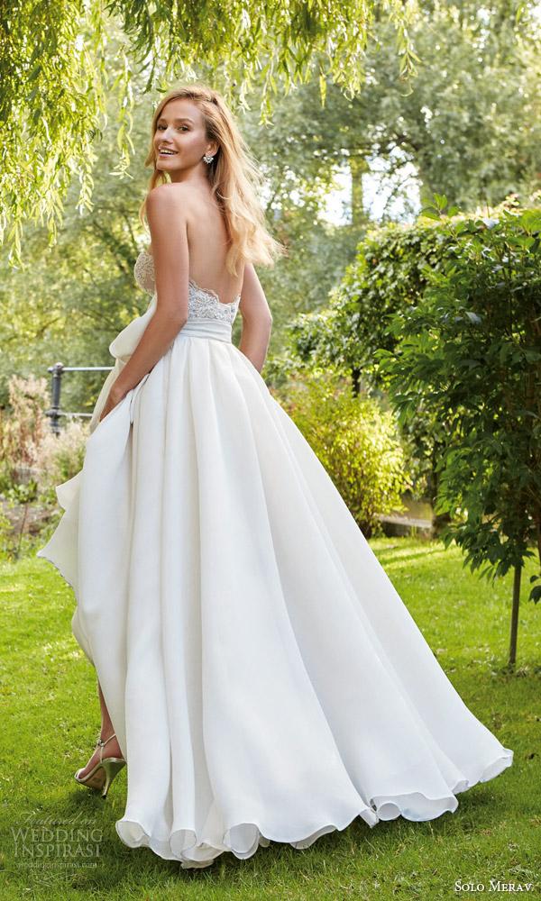 solo merav bridal 2016 pretty wedding dress off shoulder lace straps corset bodice organza chiffon full a line skirt emily back view