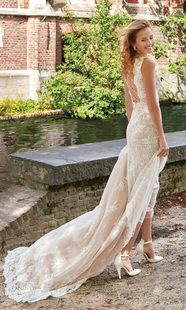solo merav bridal 2016 sleeveless lace sheath wedding dress high neckline venessa beautiful long train back view