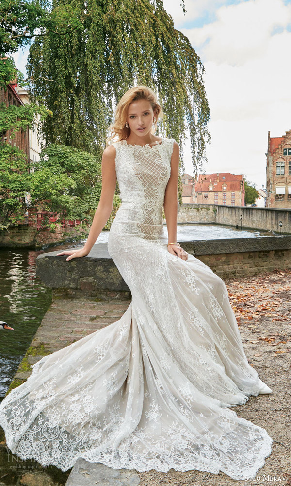 solo merav bridal 2016 sleeveless lace sheath wedding dress high neckline venessa beautiful long train