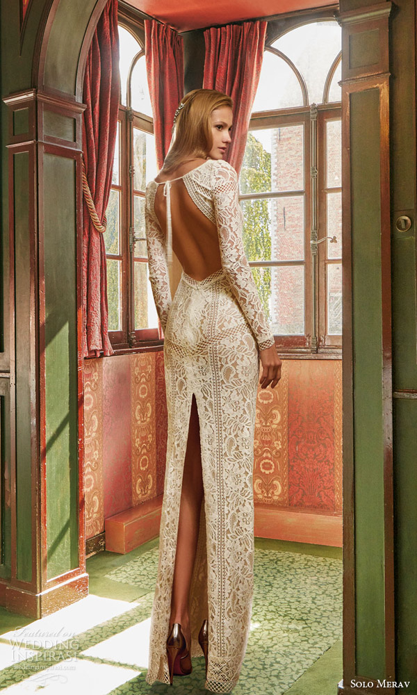 solo merav bridal 2016 sophisticated lace wedding dress elegant long sleeves open back slit high neck open back view