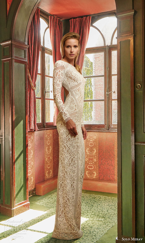solo merav bridal 2016 sophisticated lace wedding dress elegant long sleeves open back slit high neck side view