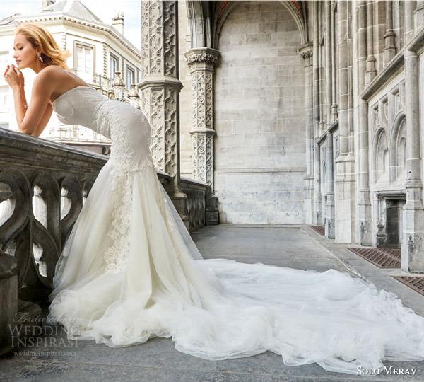 solo merav bridal 2016 strapless mermaid wedding dress rich tulle train split sweetheart neckline vivianne side view