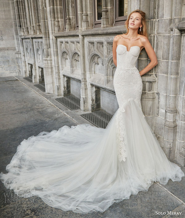 solo merav bridal 2016 strapless mermaid wedding dress rich tulle train split sweetheart neckline vivianne