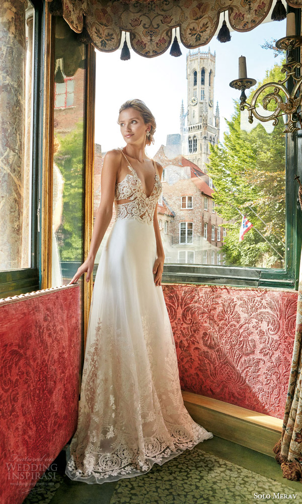 72c3f38da1 solo merav wedding dress 2016 bridal gown with exquisite hand embellished  sheer illusion straps sexy bodice.