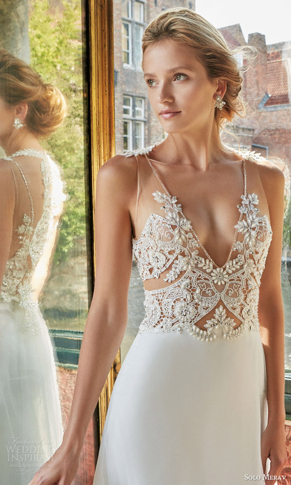 solo merav wedding dress 2016 bridal gown with exquisite hand embellished sheer illusion straps sexy bodice celestia