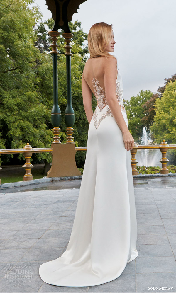 solo merav wedding gown 2016 bridal collection silver bell sleeveless halter neck wedding dress metallic appliques embellishment hand decorated jewel back illusion view