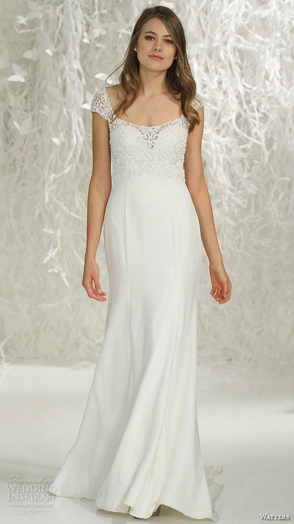 Watters brides spring 2016 wedding dresses wedding inspirasi for Sheath wedding dress with cap sleeves