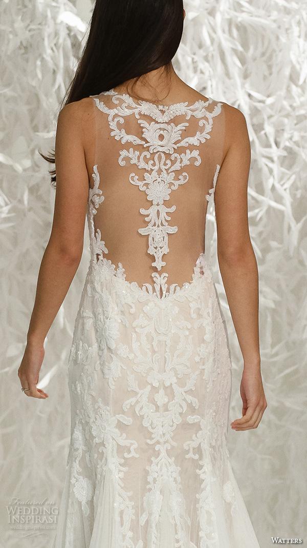Watters brides spring 2016 wedding dresses wedding inspirasi for Sheath v neck wedding dress