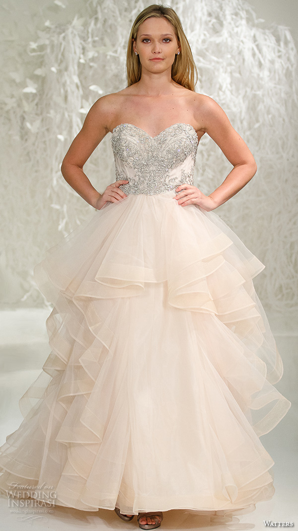 Blush Wedding Dress 1402 : Blush color horsehair trim ball gown wedding dress style meri oatmeal