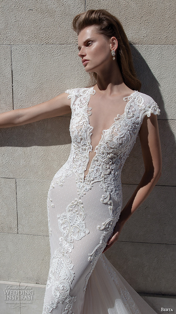 berta fall 2016 bridal beautiful deep v plunging neckline cap sleeves sheath wedding dress chapel train