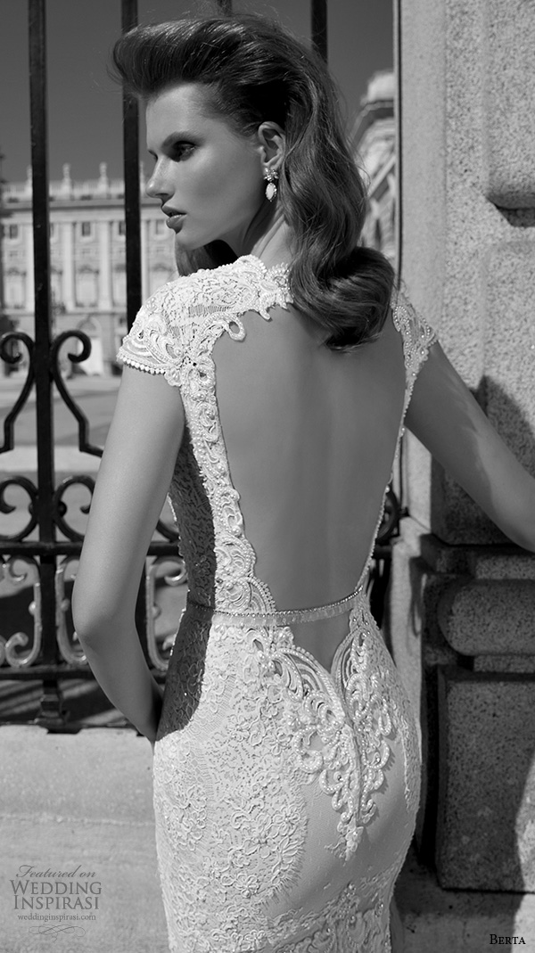 berta fall 2016 bridal beautiful mermaid wedding dress cap sleeves deep plunging v neckline chapel train