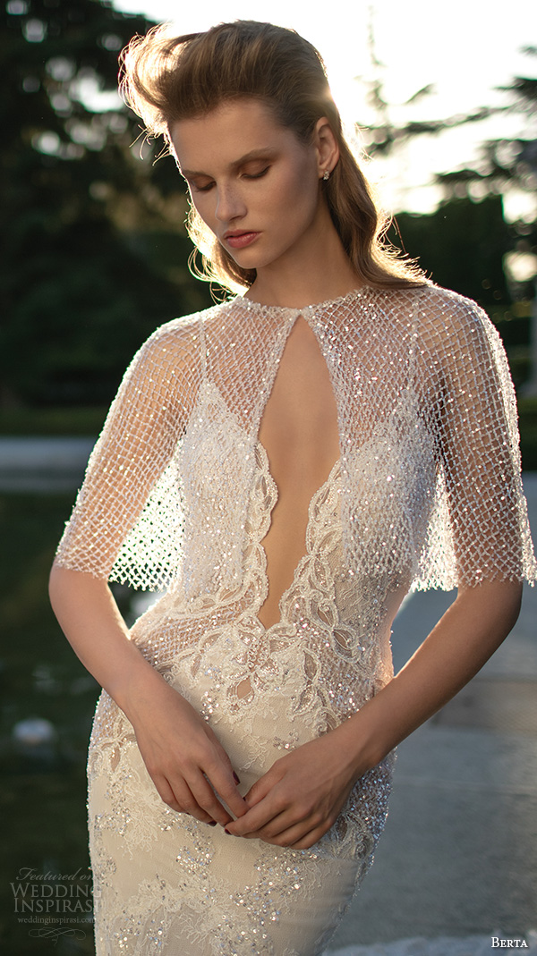 berta fall 2016 bridal deep v plunging neckline spagetti strap lace embroidered mermaid wedding dress lace bolero jacket