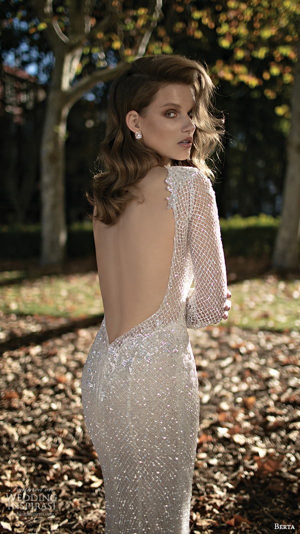 berta fall 2016 bridal elegant bateau neckline long sleeves sheath wedding dress  low back