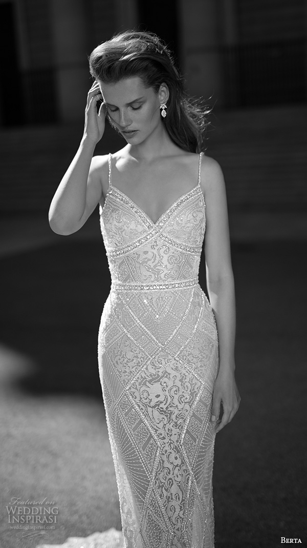 berta fall 2016 bridal elegant sheath wedding dress spagetti strap lace embroidery v neckline with train