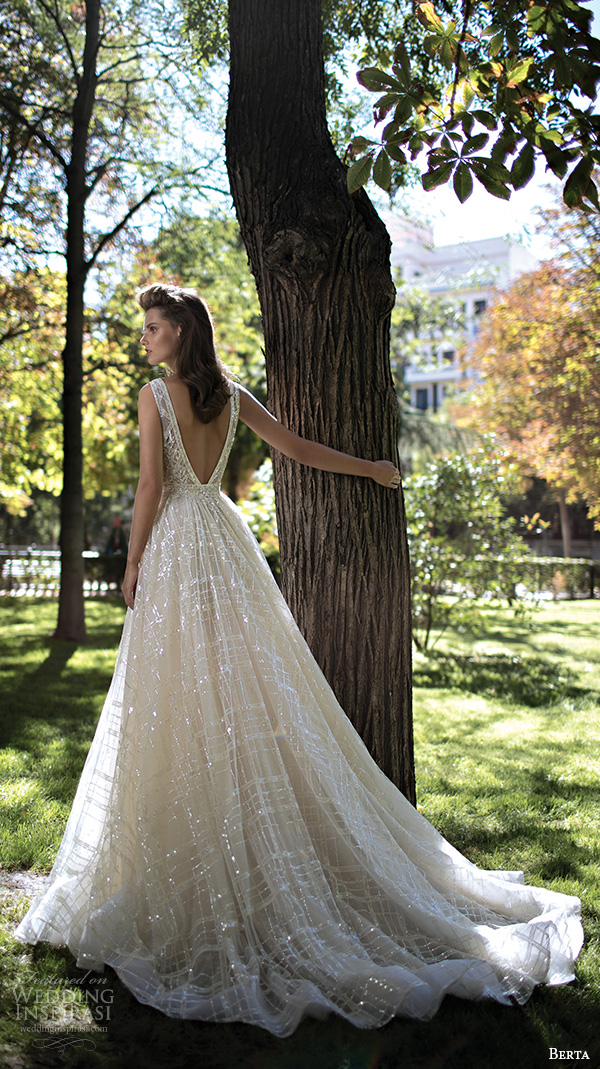 berta fall 2016 bridal gorgeous pretty a  line wedding ball gown dress sleeveless deep v plunging neckline romantic