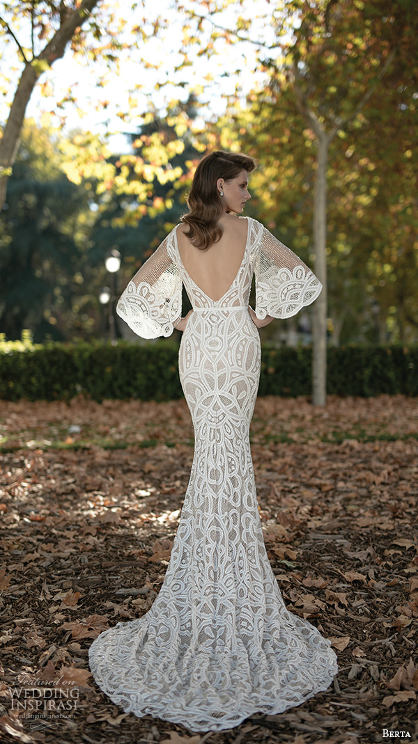 Berta fall 2016 wedding dresses bridal photo shoot for Wedding dress with sleeves and open back