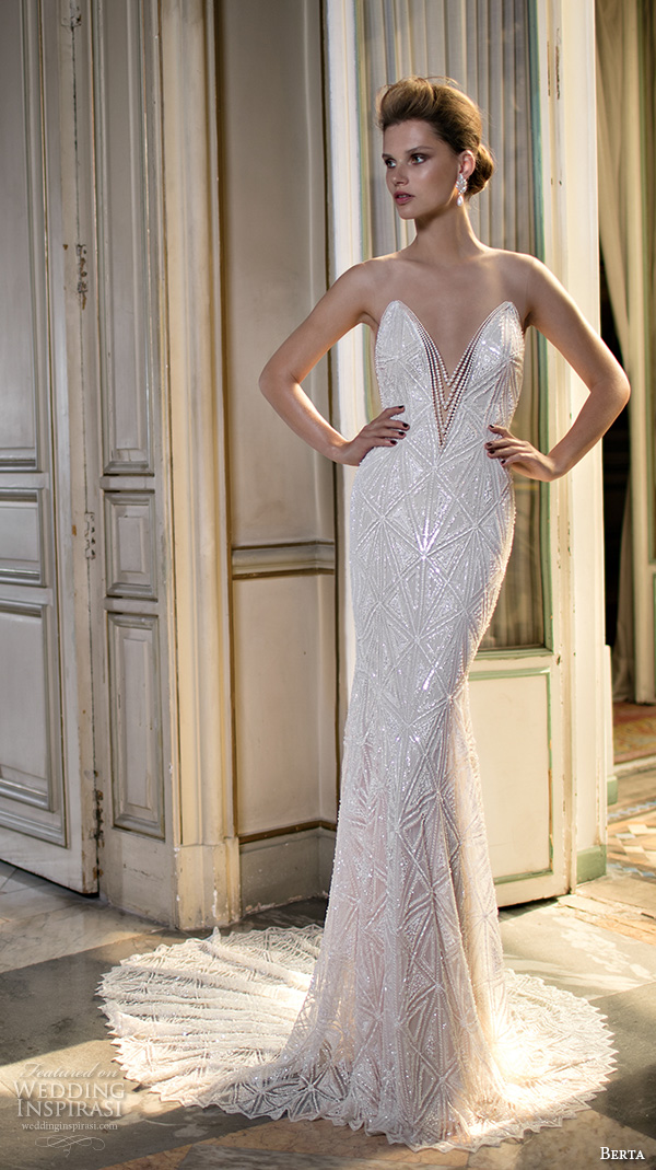 berta fall 2016 bridal illusion sleeveless jewel neckline deep v plunging cut geometric pattern embroideries sheath wedding dress