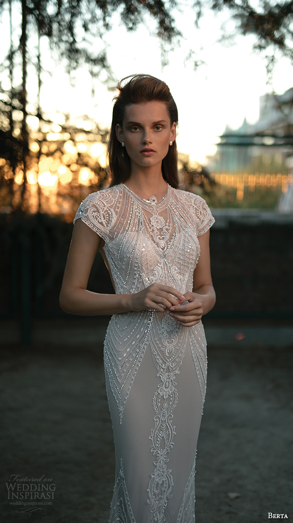 berta fall 2016 bridal jewel neckline cap sleeves lace embroidered sheath wedding dress