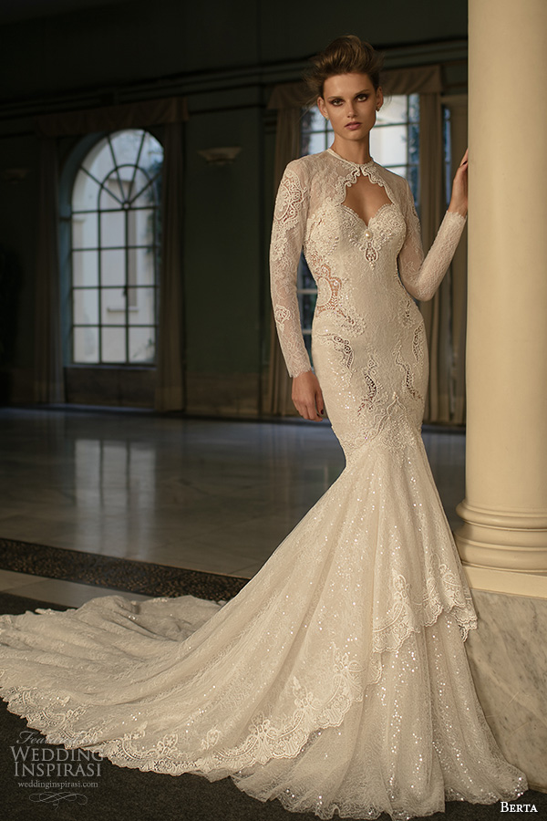berta fall 2016 bridal long sleeves jewel neckline lace jacket sweetheart neckline beautiful mermaid wedding dress