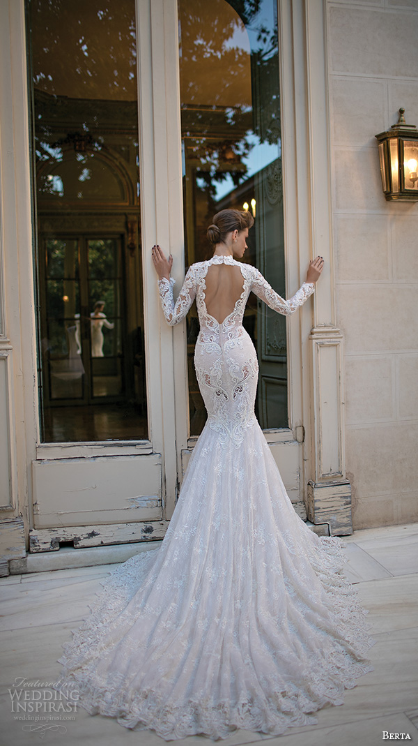 berta fall 2016 bridal long sleeves queen anne neckline deep v neckline beautiful trumpet mermaid wedding dress back