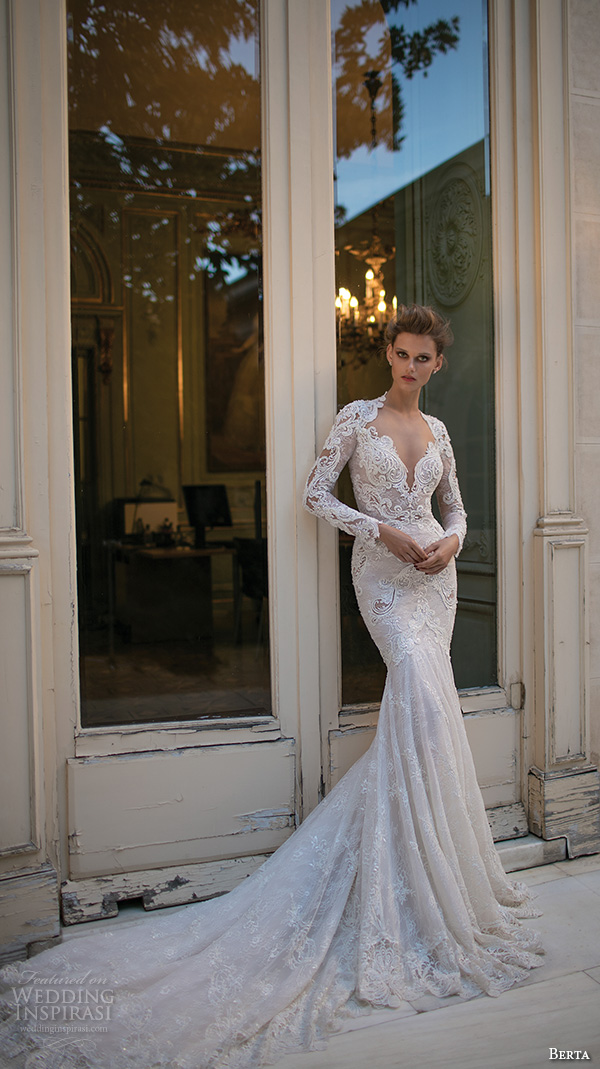 berta fall 2016 bridal long sleeves queen anne neckline deep v neckline beautiful trumpet mermaid wedding dress