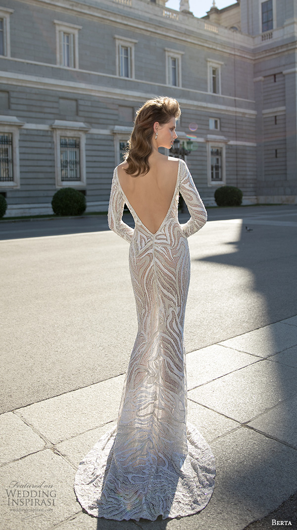berta fall 2016 bridal long sleeves v neckline elegant sheath wedding dress back view