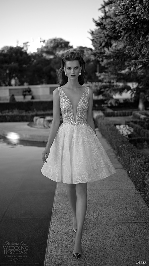 berta fall 2016 bridal pretty short wedding dress skirt sleeveless deep v plunging neckline lace embroidery